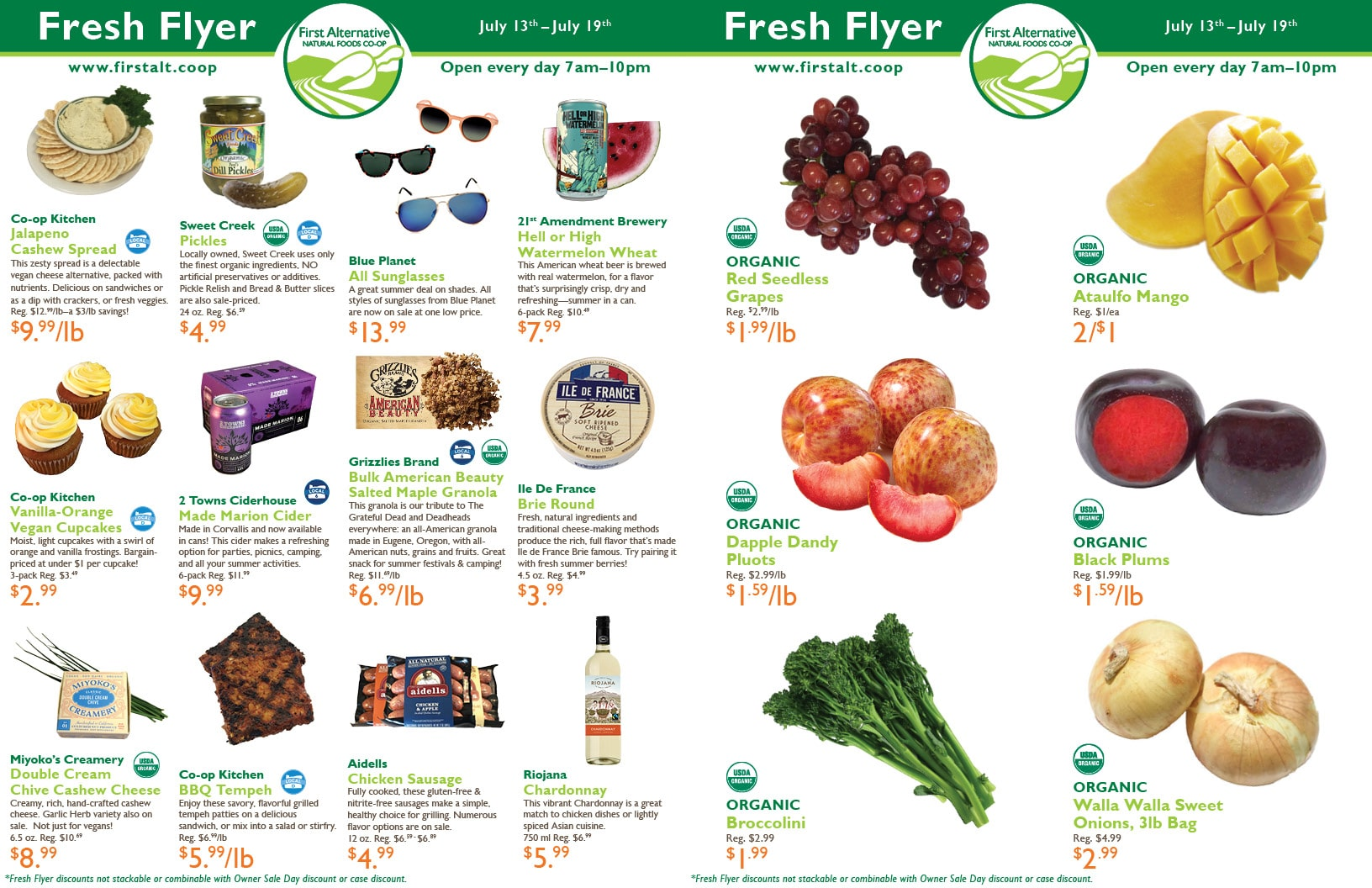 First Alternative Co-op Fresh Flyer July 13-19