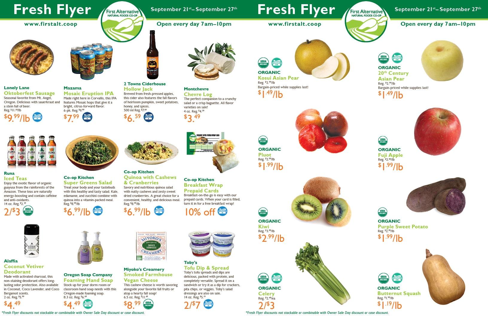 First Alternative Co-op Fresh Flyer September 21-27