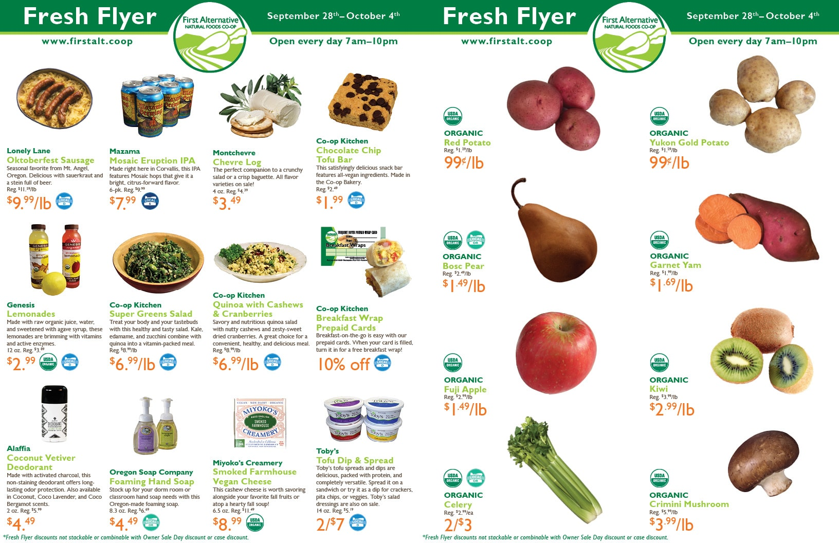 First Alternative Co-op Fresh Flyer September 28 - October 4
