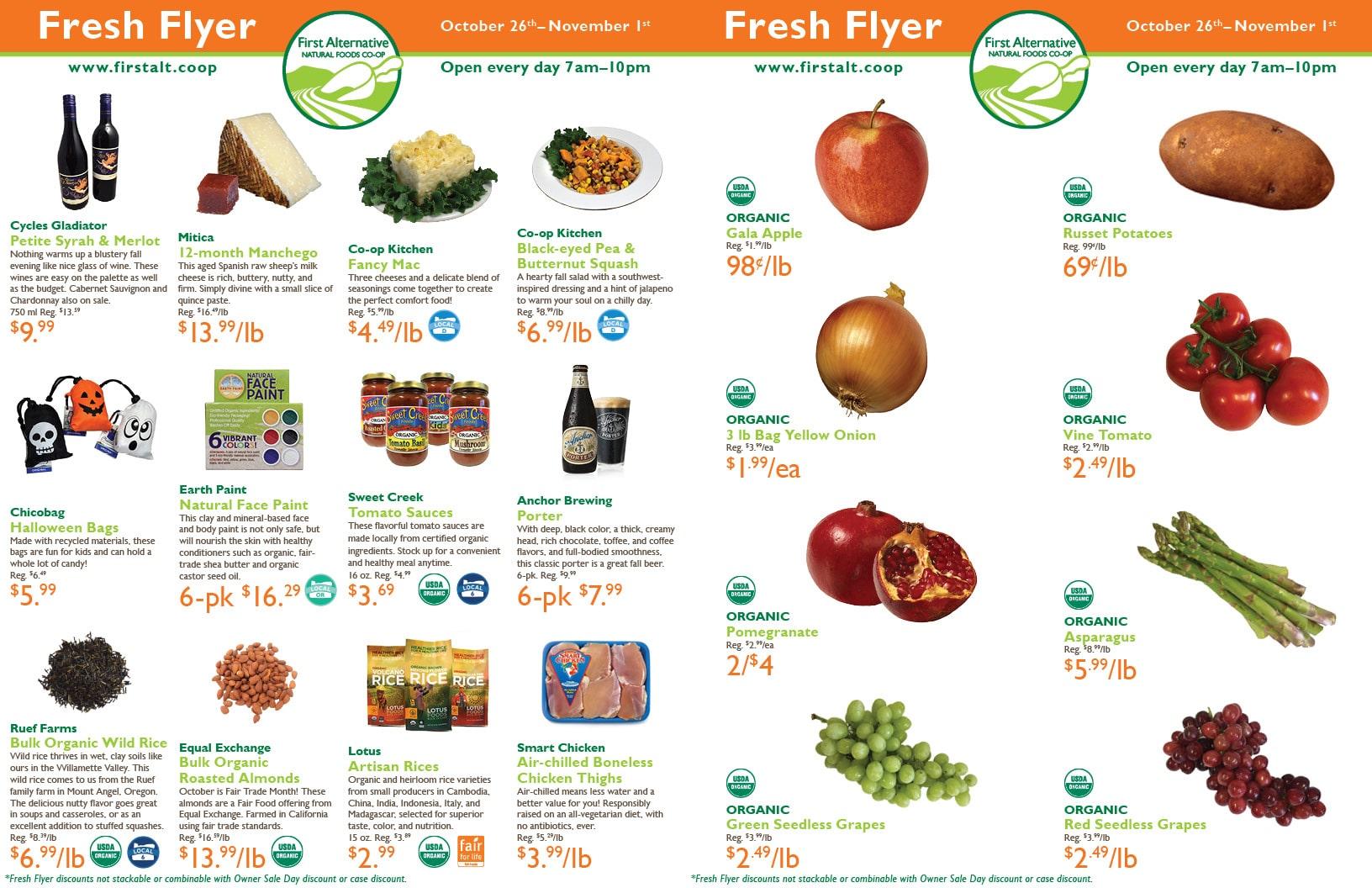 First Alternative Co-op Fresh Flyer October 26-November 1
