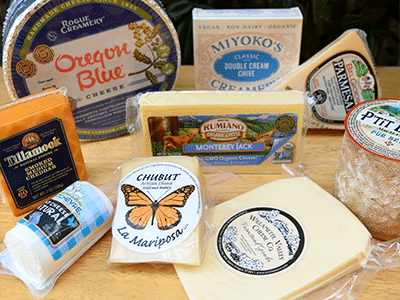 collection of local, organic, and vegan cheeses