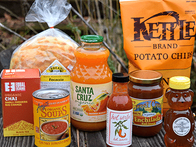collection of local and organic packaged grocery items