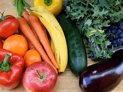 collection of fresh, organic fruits and vegetables