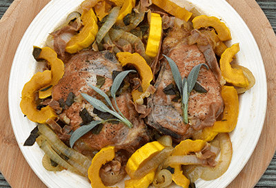 Braised Pork Chops with Delicata Square