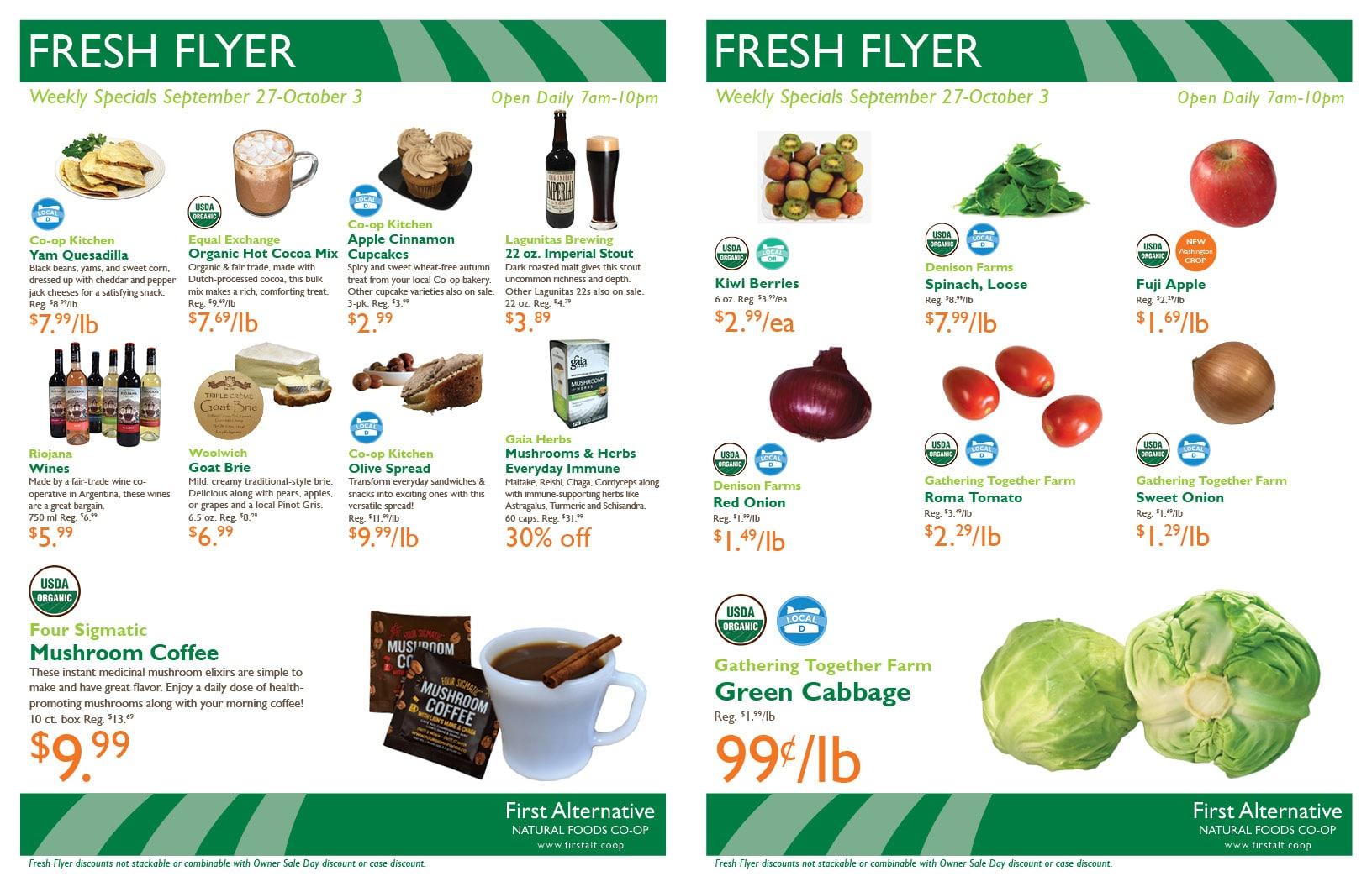First Alternative Co-op Fresh Flyer September 27-October 3