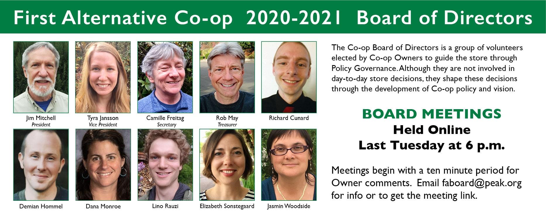 2020-2021 Co-op Board