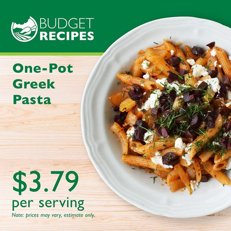 Budget Recipe One-pot Greek Pasta
