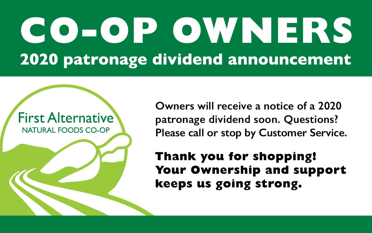Patronage dividend announcement for Co-op Owners
