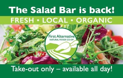 Salad Bar is Back. Take-out only, available all day.